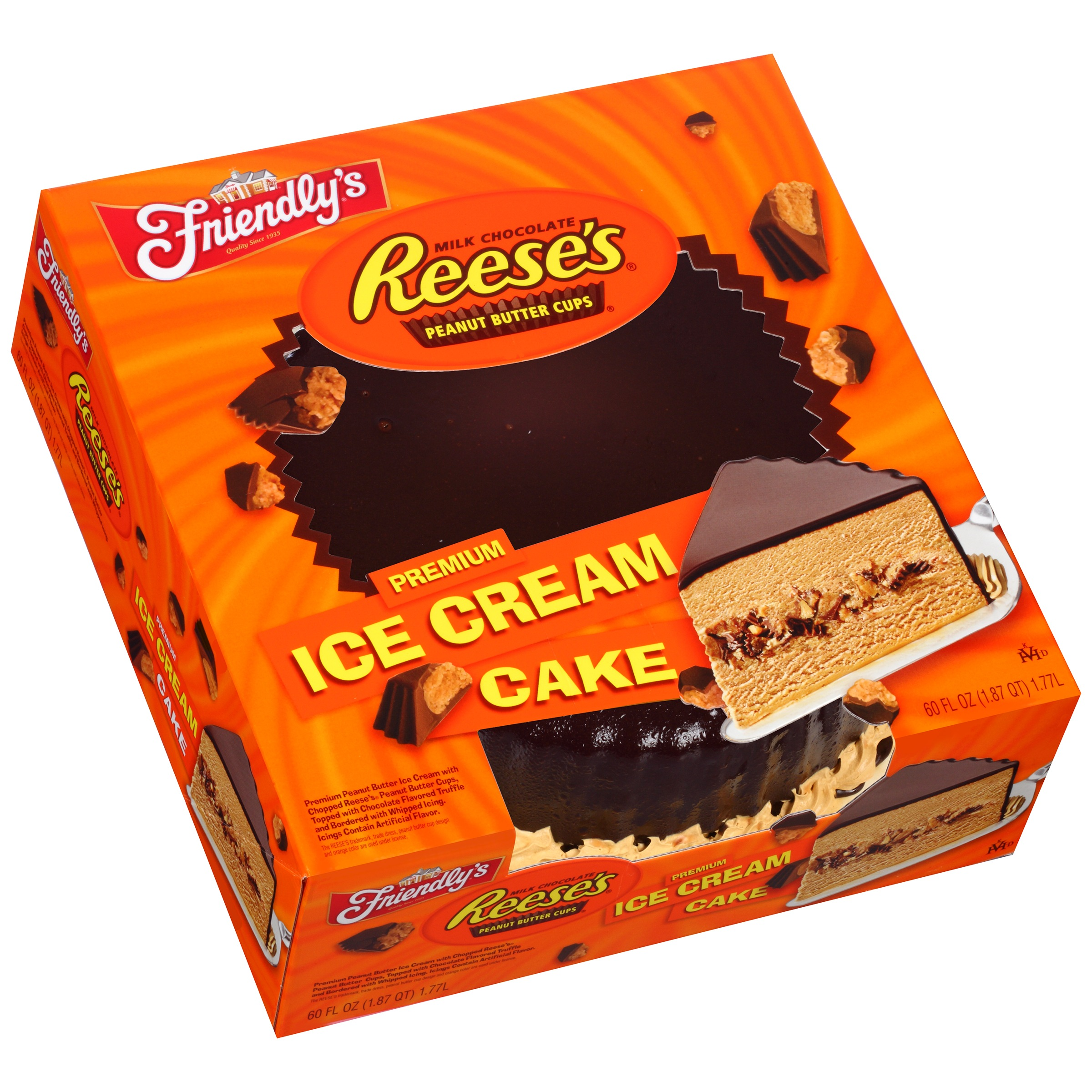 reese s ice cream cake friendly s reese s peanut butter cups cake 60 fl 7050