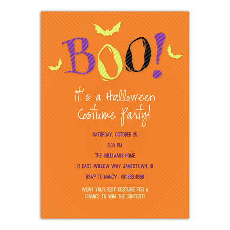 Personalized Halloween Invitation - Scared Monster - 5 x 7 Flat - Fun Halloween Invitations