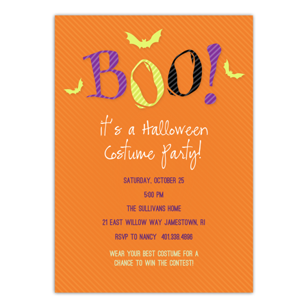 Personalized Halloween Invitation - Scared Monster - 5 x 7 Flat - Handmade Halloween Invitations