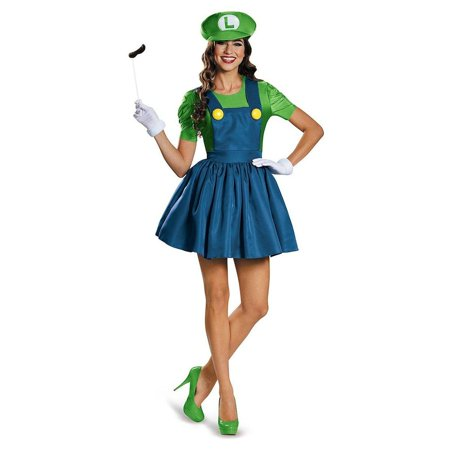 Luigi Costume Womens (Nintendo Super Mario Bros Teen Luigi Costume Dress Junior)