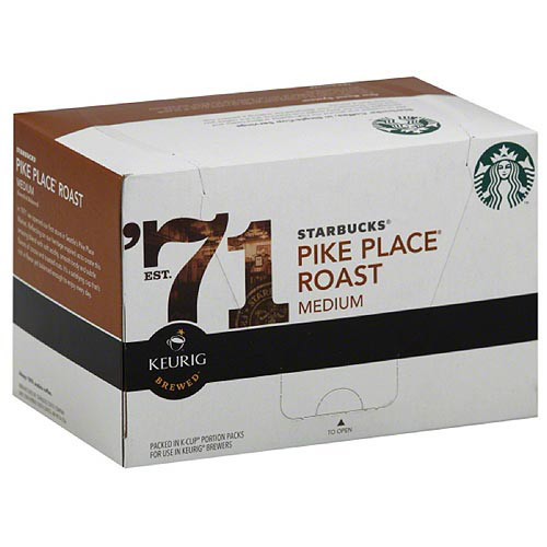 Starbucks Pike Place Roast Medium Keurig Brewed K-Cups Ground Coffee, 10 count, (Pack of 6)