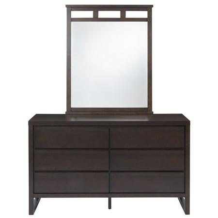Progressive Athena 6 Drawer Dresser and Mirror in Dark Chocolate