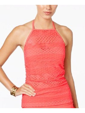b223d82b82 Product Image Island Escape Solid Coral Sky High-Neck Crochet Tankini  Swimsuit Top NWT Size 10