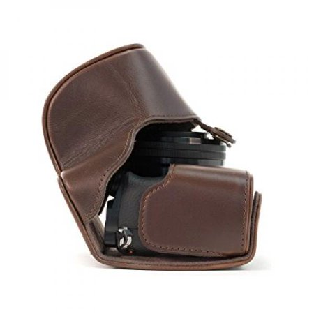 MegaGear Ever Ready Protective Leather Camera Case, Bag for Sony Alpha a5000, Sony a5100 with 16-50mm OSS Lens (Dark Brown) ()