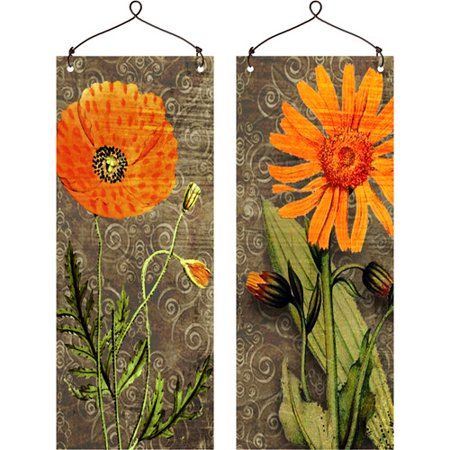 """Orange Flower"" Wall Plaques, Set of 2"