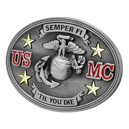 Buckle Rage Adult Unisex Semper Fi US Marine Corps Till Die Belt Buckle (Marine Corps Belt)
