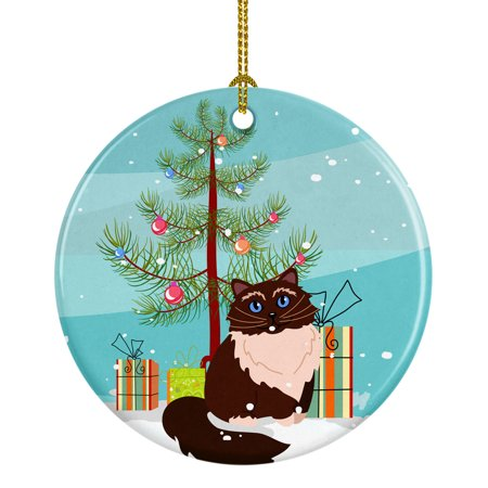 Himalayan Cat Merry Christmas Tree Ceramic Ornament ()