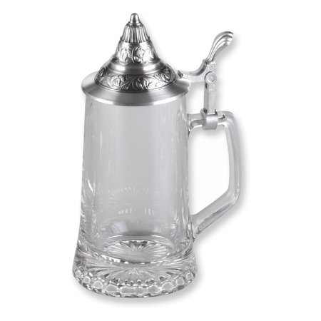 - 13.5 oz. Starbottom Glass Stein w/Removeable Pewter Lid