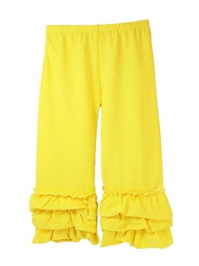 Girls Yellow Triple Tier Ruffle Cuffed Cotton Spandex Pants 12M-7