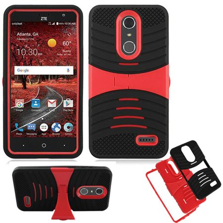 For ZTE Max one Case, Phone Case for ZTE Zmax One / ZTE Blade-Spark Gophone AT&T / Cricket ZTE Grand X-4 LTE Rugged Heavy Duty Armor Cover Stand (Armor Black Skin-Red Stand ) ()