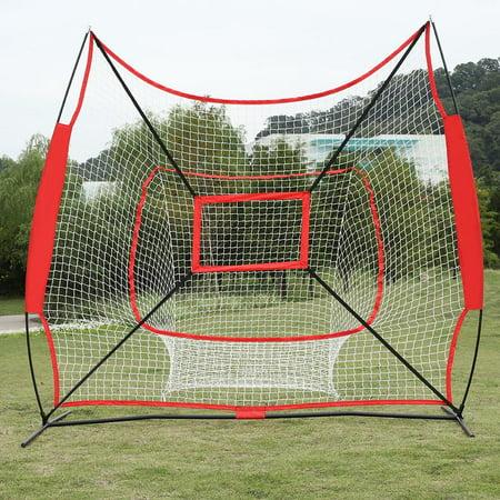 Ktaxon 7'x 7' Lightweight Portable Baseball Softball Net, with Carry Bag, for Hitting, Fielding, Pitching, Soft Toss and Tee Ball (Portable Pitching Net)