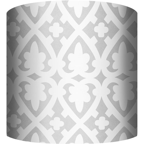 "10"" Drum Lampshade, White and Silver III by"