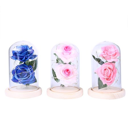 Homeholiday Artificial Plastic Dual Rose Flowers 20LED Copper Wire Night Light Glass Cover Night Lamp Birthday Party Ornaments - image 2 of 8