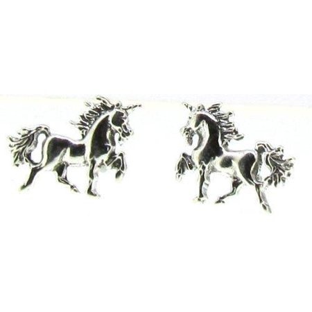 Sterling Silver Mini Trotting Unicorn Earrings on Posts Hypo-Allergenic (60s Jewelry)