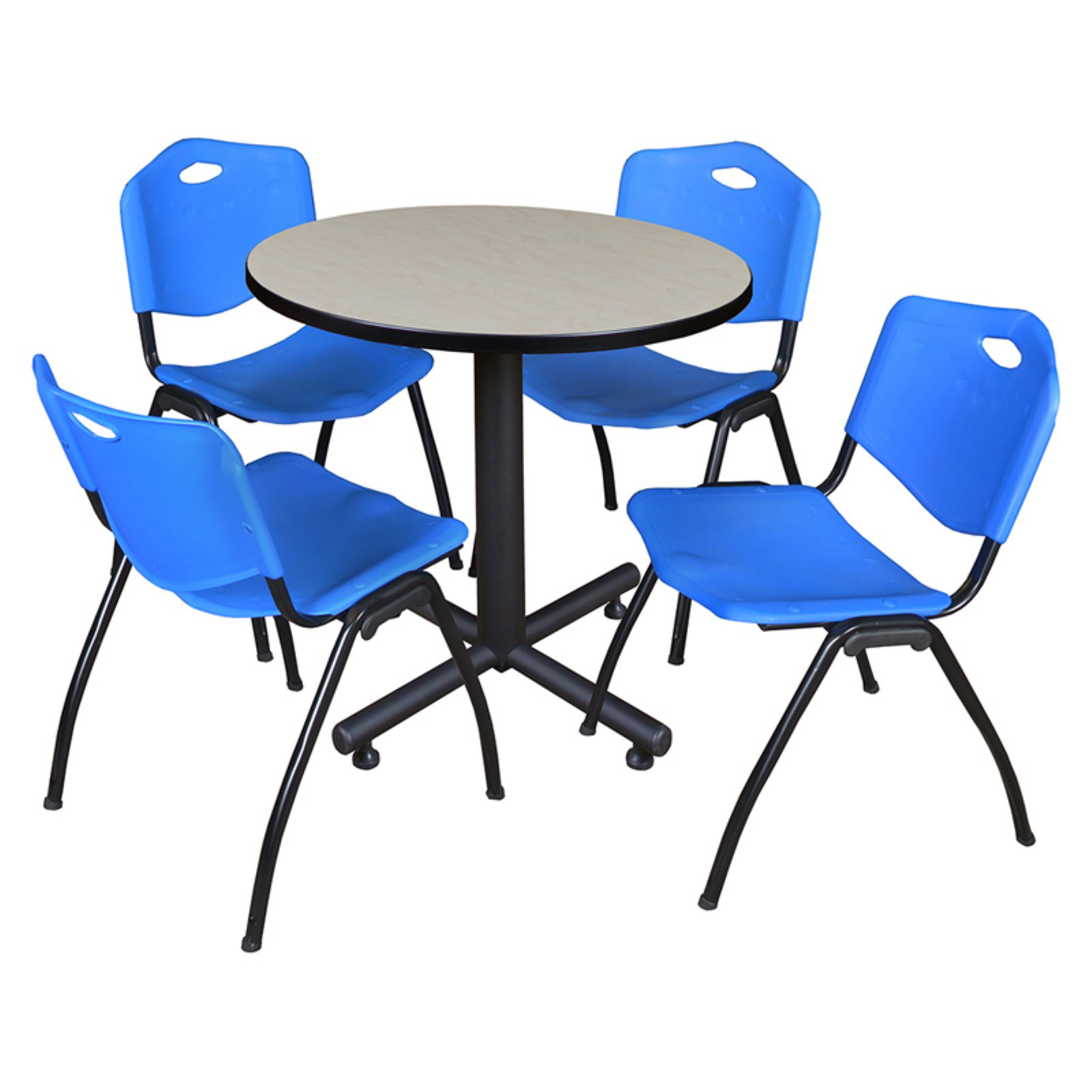 "Kobe 30"" Maple Round Breakroom Table and 4 'M' Stack Chairs, Multiple Colors"
