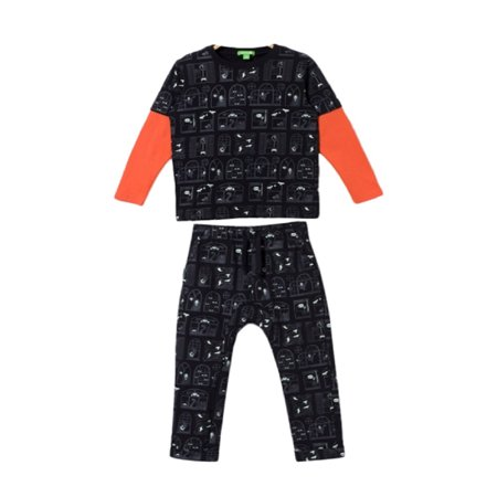 bossini Boys 2 Pack Ghost Neighbour Prints Long Sleeved T-shirt& Casual Dark Prints Pants 100,US Size 4t