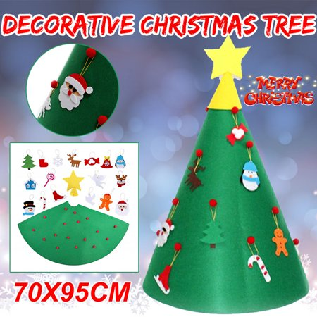 3.1ft Wall Decor, Christmas Game DIY Felt Christmas Tree Kids Educational Toy with Hanging Rope Party Home Accessories Supplies Decorations Ornaments ()