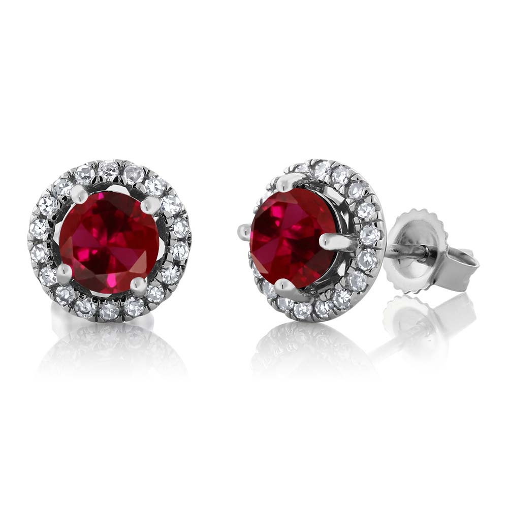 14K White Gold Diamond Halo Earrings set with 1.38 CTTW Round Red Created Ruby by