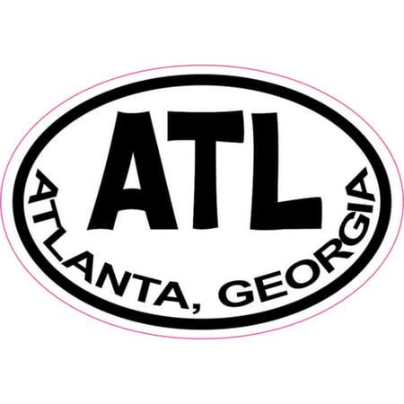 City Sticker Bumper (3in x 2in Oval Atlanta Georgia Sticker Vinyl City Vehicle Bumper Stickers )