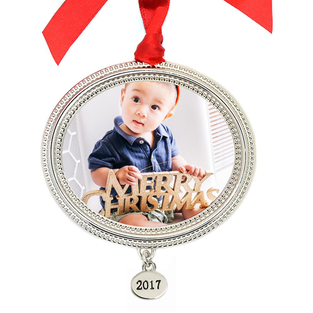 Metal Beaded Frame Photo Ornament with 2017 Tag