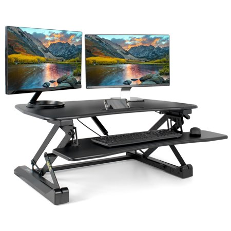 Adjustable Desk Monitor (VIVO Height Adjustable Standing Desk Monitor Riser Gas Spring | Black Tabletop Sit to Stand Workstation)