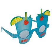 Tropical AMF Highball Glass Drink Sunglasses, Blue Frame, Blue Lens, OS