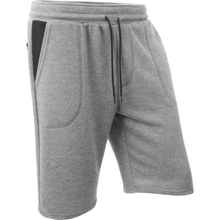 Ma Croix Mens French Terry Sweat Shorts Contrast Lightweight Fleece Elastic Casual Activewear (Athletic Fleece Shorts)