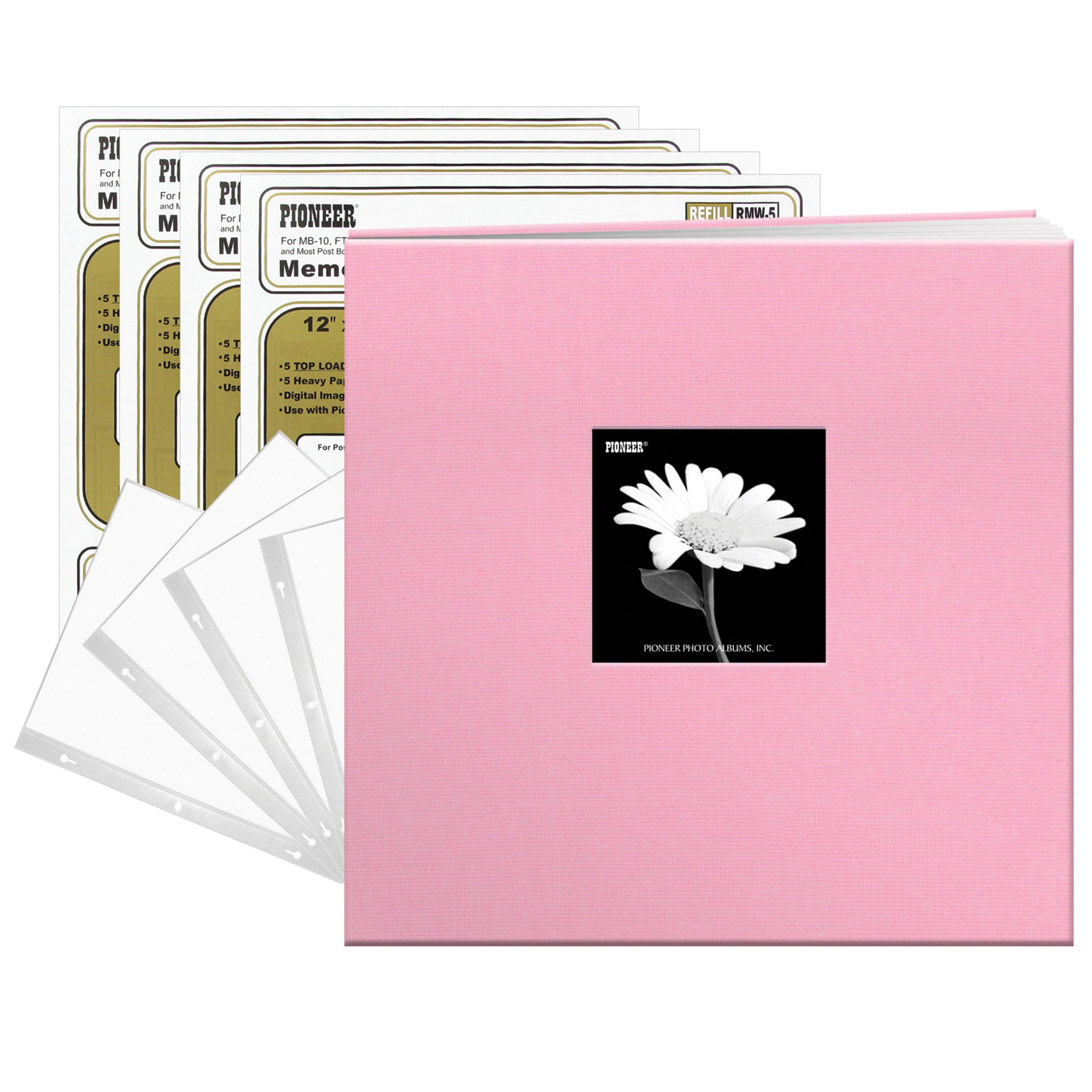 Pioneer Photo Albums  Baby Dreamy Pink Fabric Frame Cover 12-inch 40-page Scrapbook