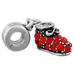 Red Rhinestone Shoe Dangle Charm Bead. Compatible With Most Pandora Style Charm Bracelets. ()