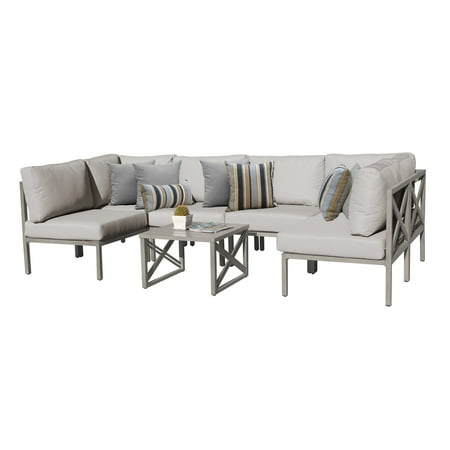 Aluminum 7 Piece Patio - TK Classics Carlisle Aluminum 7 Piece Sectional Patio Conversation