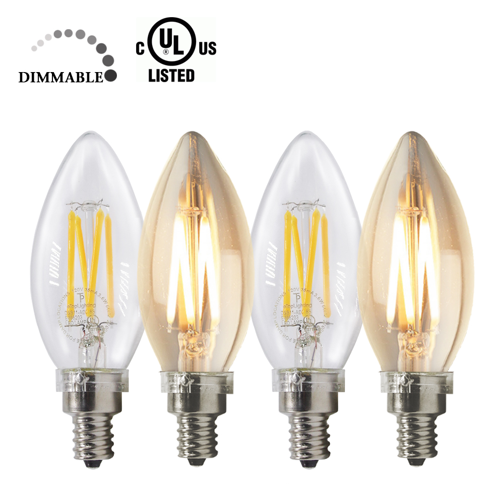 eTopLighting , 4-Pack,  Dimmable Candelabra 40 Watt 120 Volt LED Light Bulb Candelabra Style with E12 Base Warm White 2700K , WMLS2626