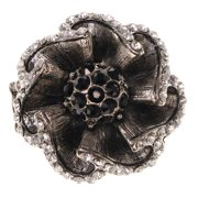 Flower Stretch-Ring With Crystal Accents Silver-Tone & Black Colored #4530