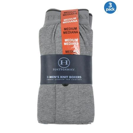 e3085917bd04 HATHAWAY - HATHAWAY Mens Stretch Knit Boxers Underwear Grey and Blue 3-Pack  Medium M 32-34 - Walmart.com