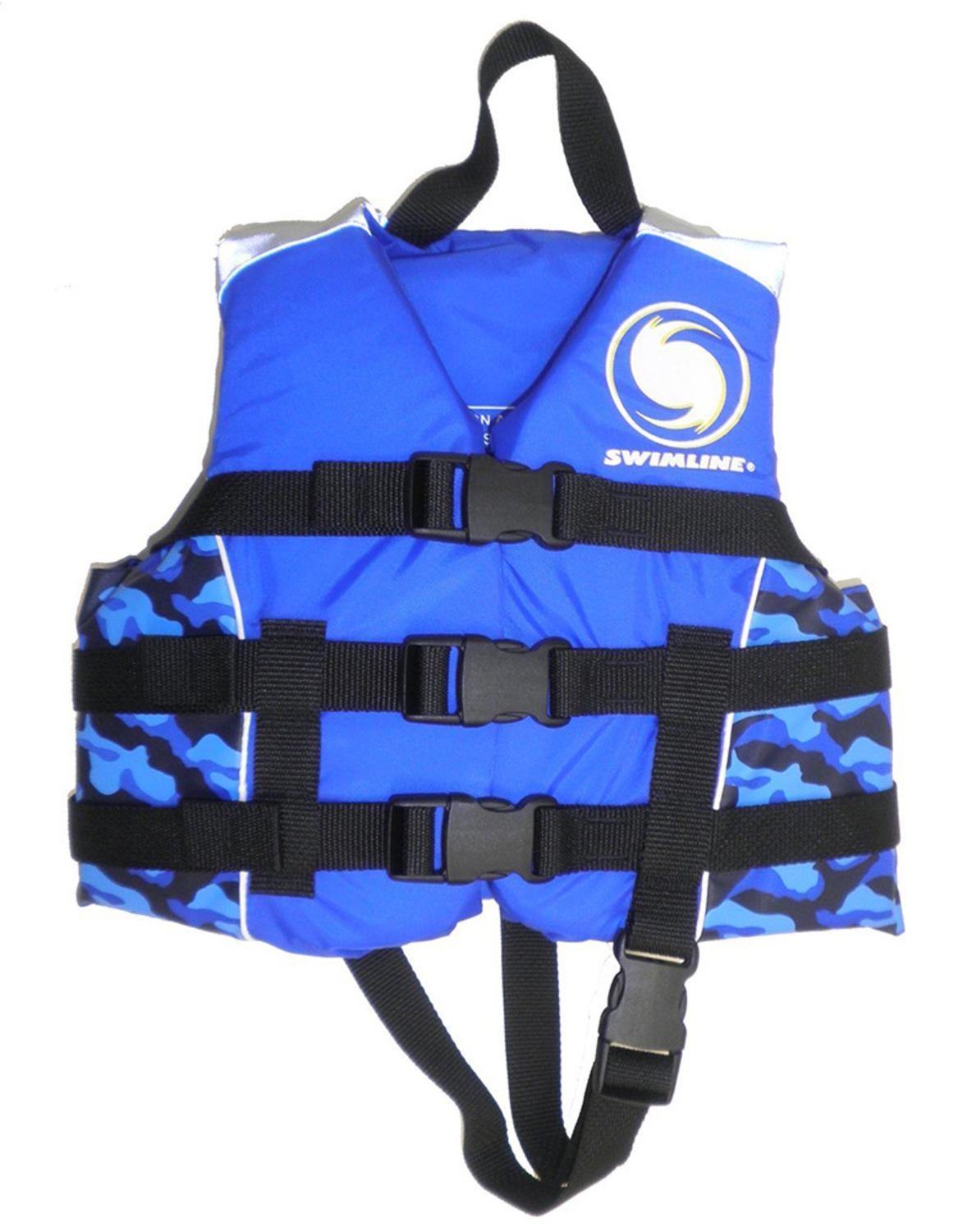USCG Approved Water or Swimming Pool Cool in Blue Camouflage Child Life Vest for Boys Up to 50lbs by Swim Central