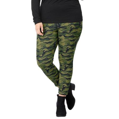 Women Plus Size Elastic Waist Stretch Camouflage Skinny Leggings Green 1X - image 1 of 7