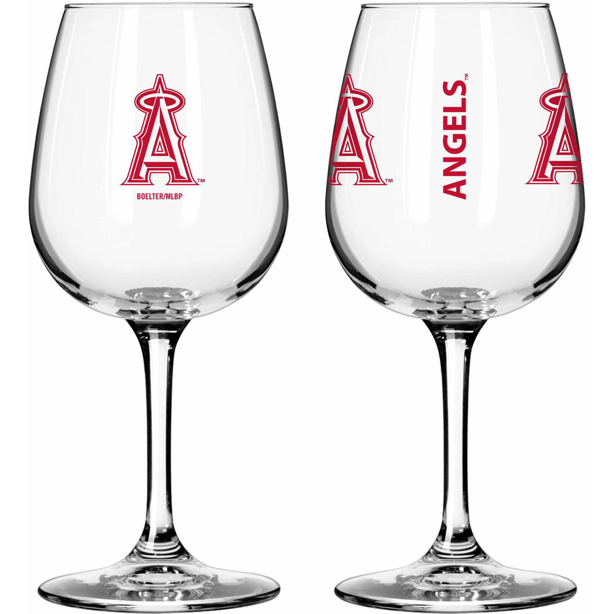 Boelter Brands MLB Set of Two 12 Ounce Wine Glass Set, Los Angeles Angels