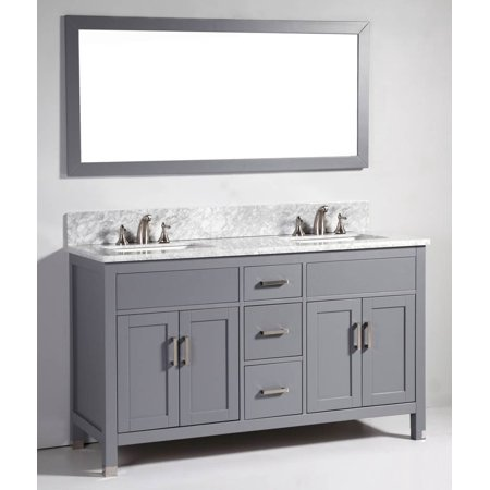 60 In Solid Wood Double Sink Vanity With Mirror