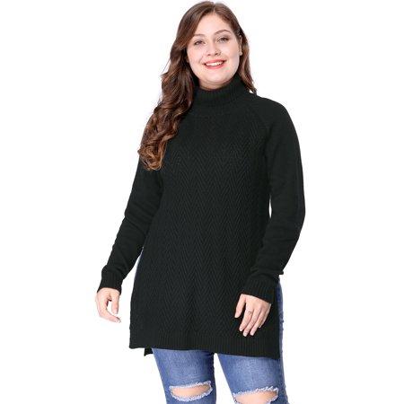 Women's Plus Size Side Slit Raglan Sleeve Turtleneck Tunic Sweater