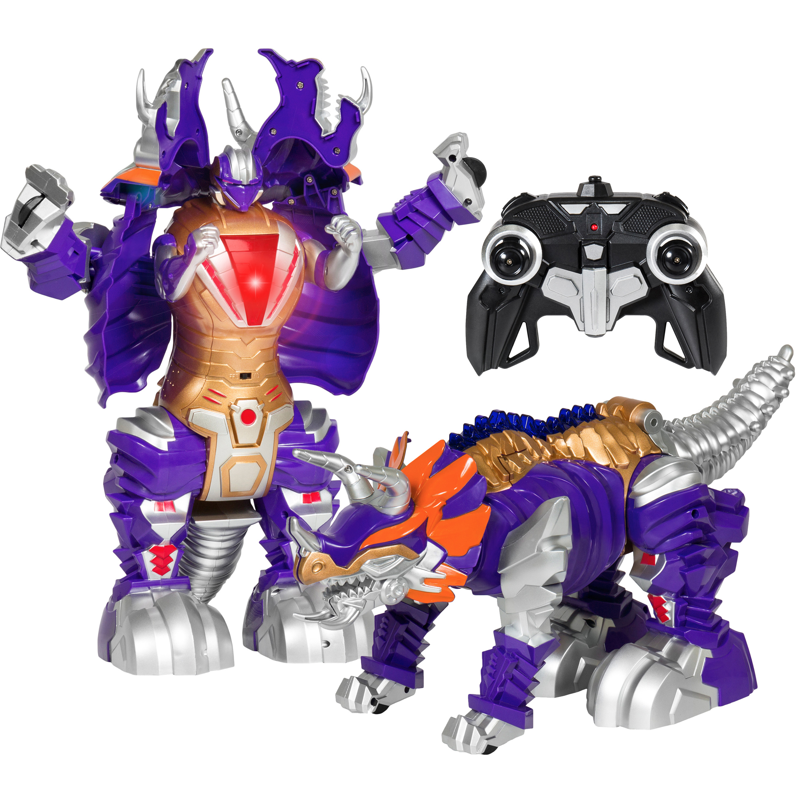 Best Choice Products Kids Transformer Remote Control Robot Dinosaur Car w/ USB Charger, Lights, and Sounds -Purple/Gold