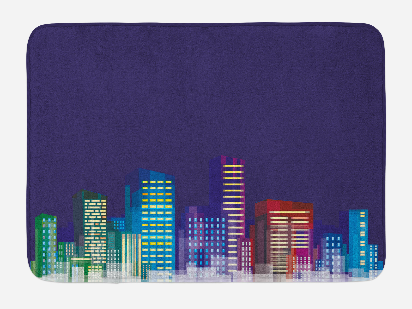 Kids Bath Mat, Cartoon Print of City Scenery Landscape of Apartments and Buildings Artwork... by 3decor llc