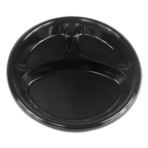 "Boardwalk Hi-Impact Plastic Dinnerware, Plate, 10"" Dia., 3 Compartments, Black, 500/Carton"