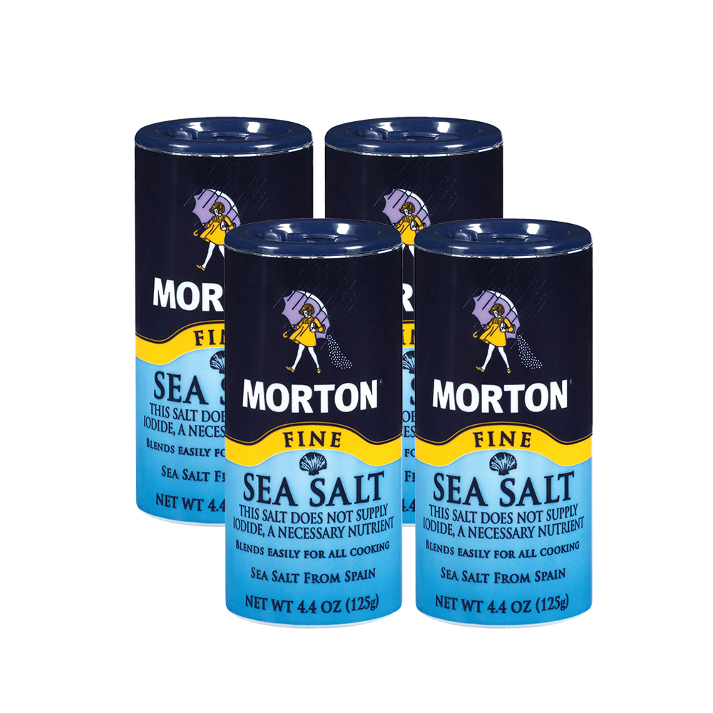 Morton Fine Mediterranean Sea Salt, 4.4 oz (4 Pack)