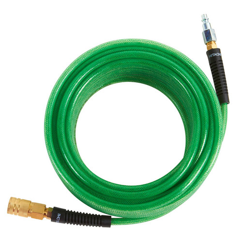 Hitachi 115155 1/4 in. x 50 ft. Polyurethane Air Hose with Industrial Fittings (Green)