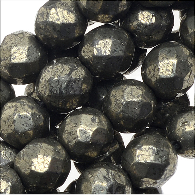 Pyrite Gemstone Beads, 6mm Faceted Round, 16 Inch Strand