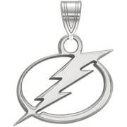 LogoArt Sterling Silver Rhodium-plated NHL Tampa Bay Lightning Small Pendant