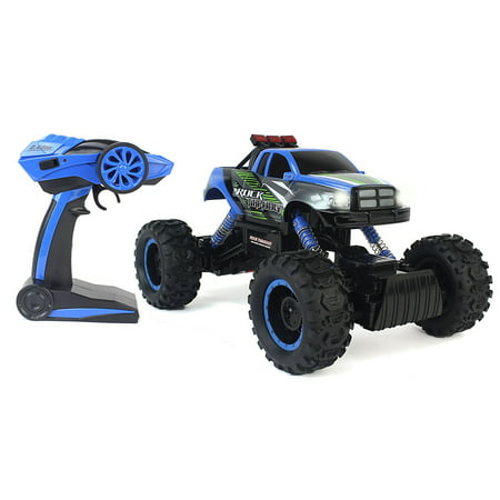 Cross-Country Racing Rock Crawler 4WD Toy Blue Rally Truck RC Car 2.4 GHz 1:14 Scale Size w/ Working Suspension, Spring Shock Absorbers