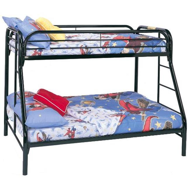 coaster 2258K Fordham Twin Over Full Bunk Bed in Black with Side Ladders