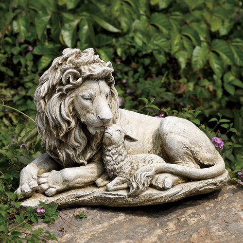 Joseph's Studio Lion and Lamb Garden Statue by Garden Statues