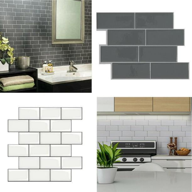 3d Self Adhesive Kitchen Wall Tiles Bathroom Mosaic Brick Stickers 12x12 Inches Walmart Com Walmart Com