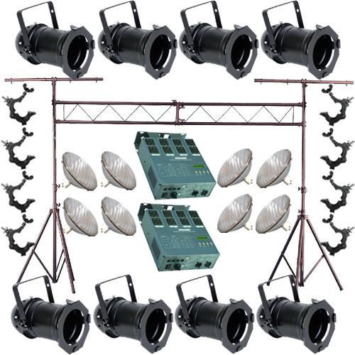 8 Black PAR CAN 64 500w PAR64 NSP O-Clamp Truss Dimmer